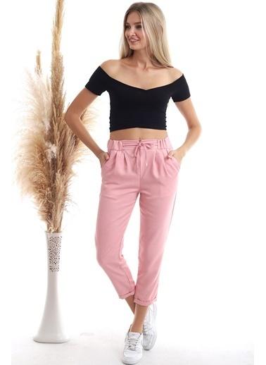Cottonmood 20343111 Viskon Flamlı Fermuarlı Fleto Cepli Havuç Pantolon Bısküvı Kırmızı